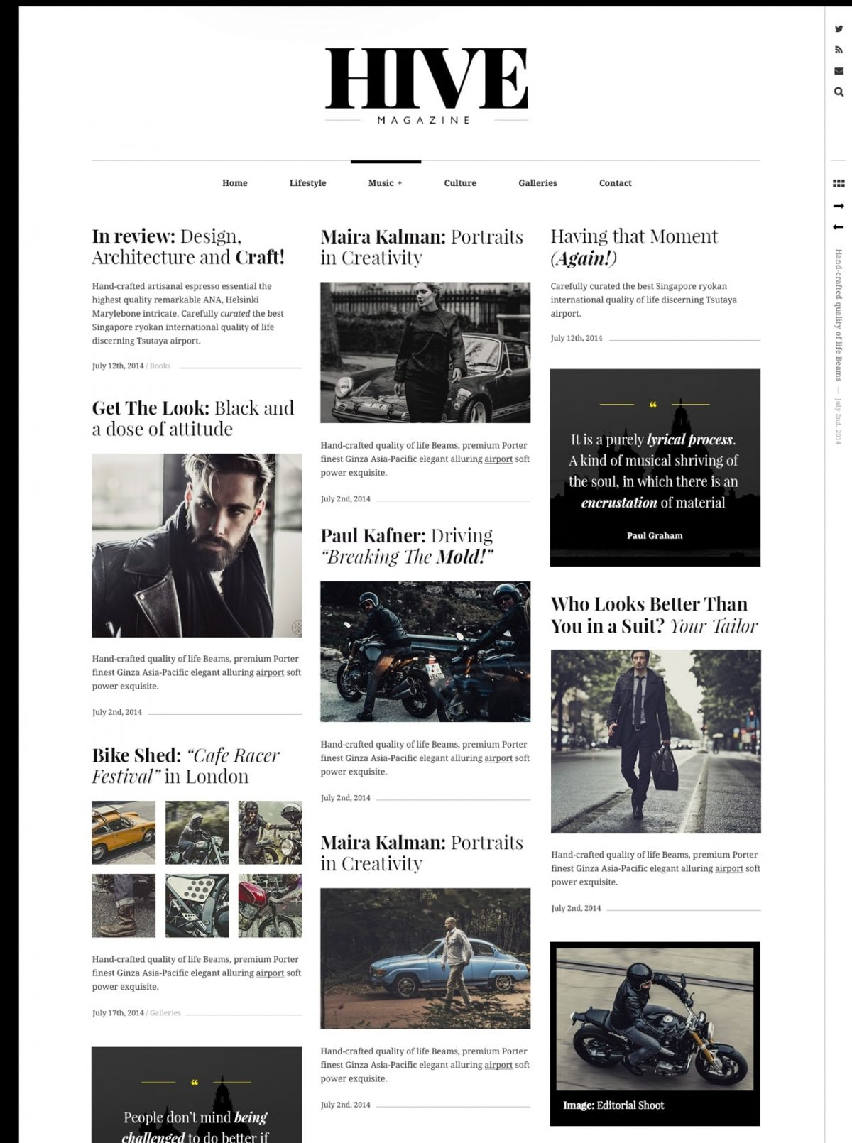 Hive lifestyle blog WordPress theme Desktop View