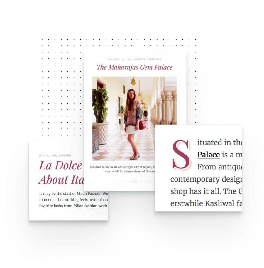 elegant typography elements designed for fashion blog