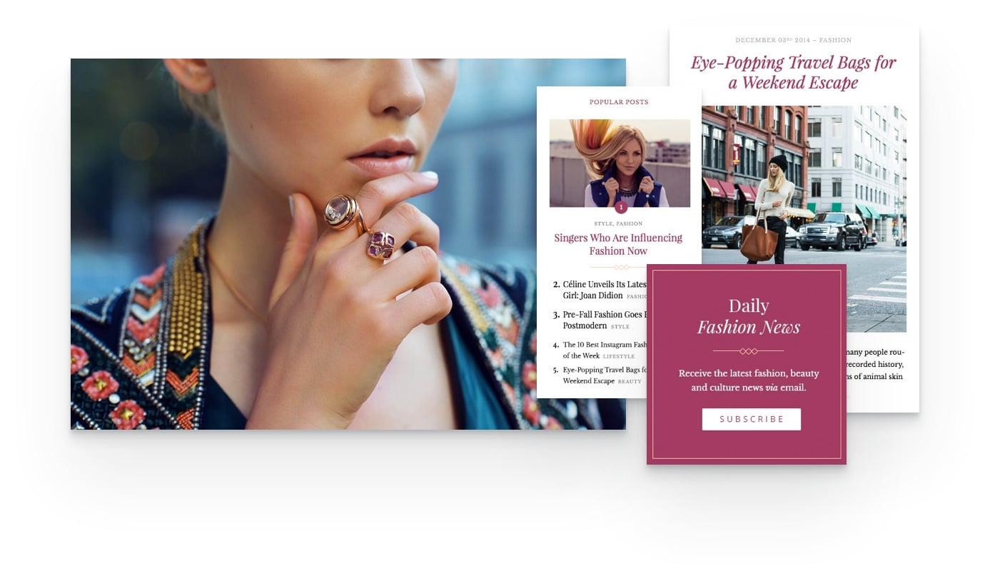 fashion blog WordPress theme with featured posts, social media tools, mega meniu and more