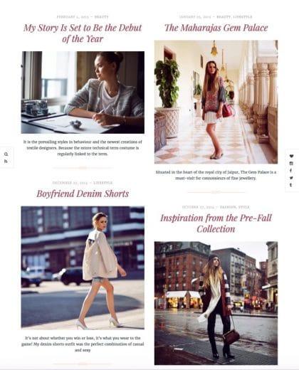 Silk fashion blog WordPress theme tablet view