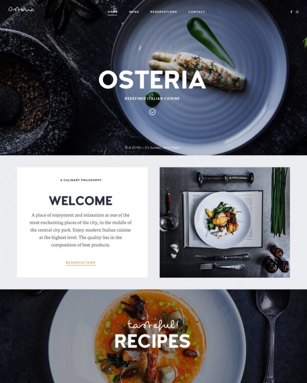 Osteria a restaurant and cafe WordPress theme