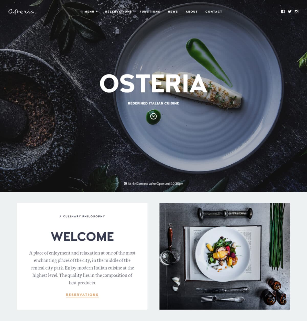 Osteria restaurant and cafe WordPress theme Desktop View