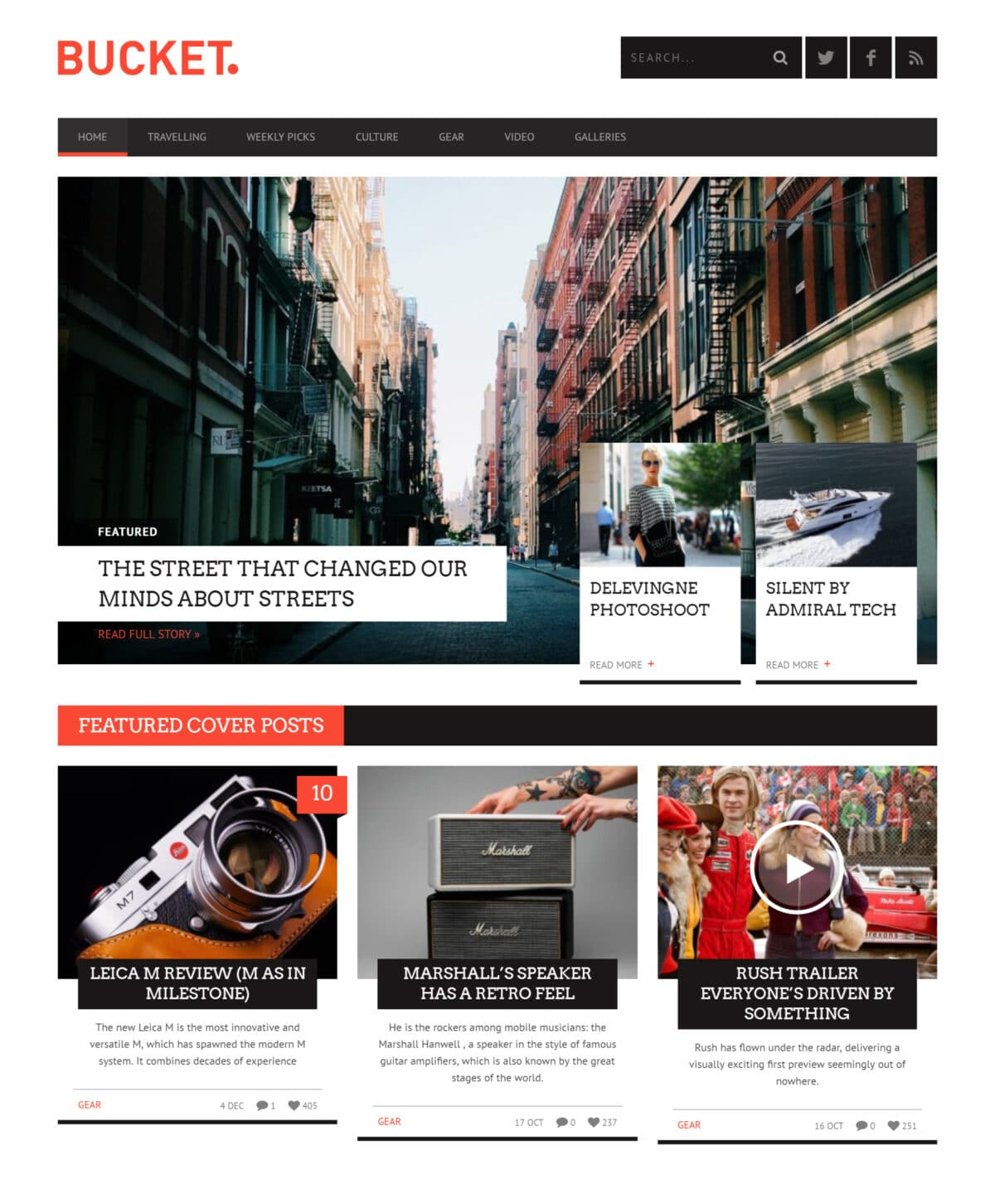 Bucket news WordPress theme Desktop View