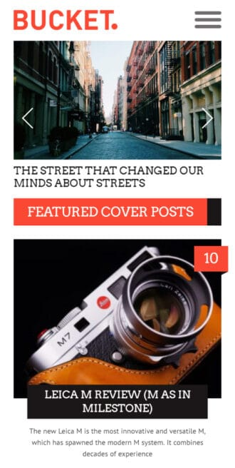 Bucket news WordPress theme Mobile View