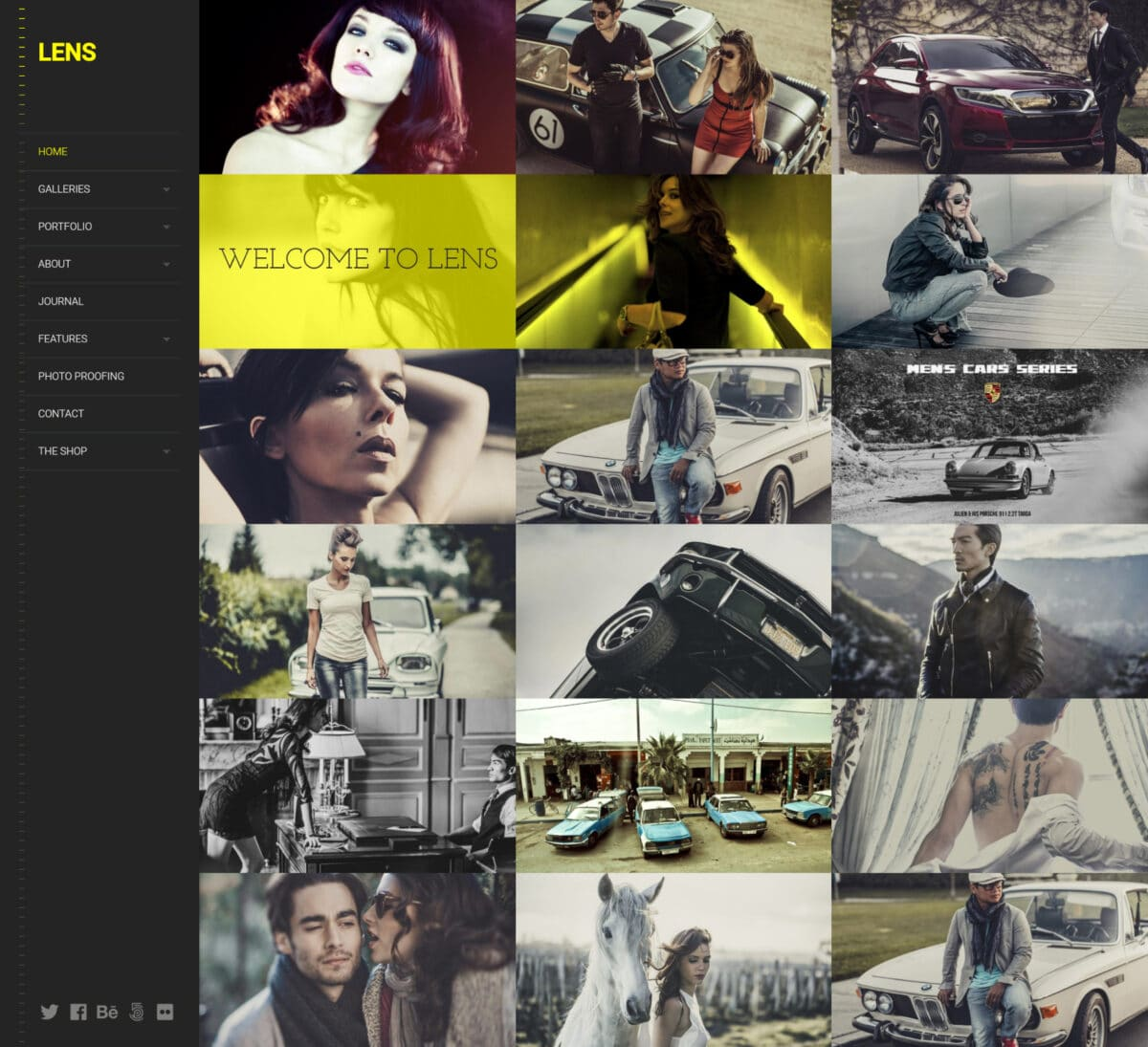 Lens a clean photography WordPress theme Desktop View