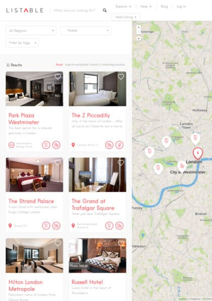 Listable a listing directory WordPress theme Tablet View