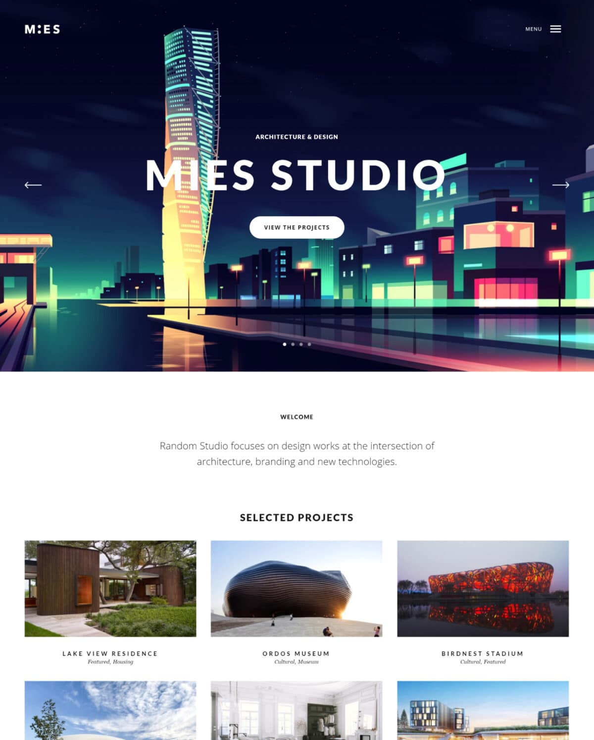 Mies Architecture WordPress theme Desktop View