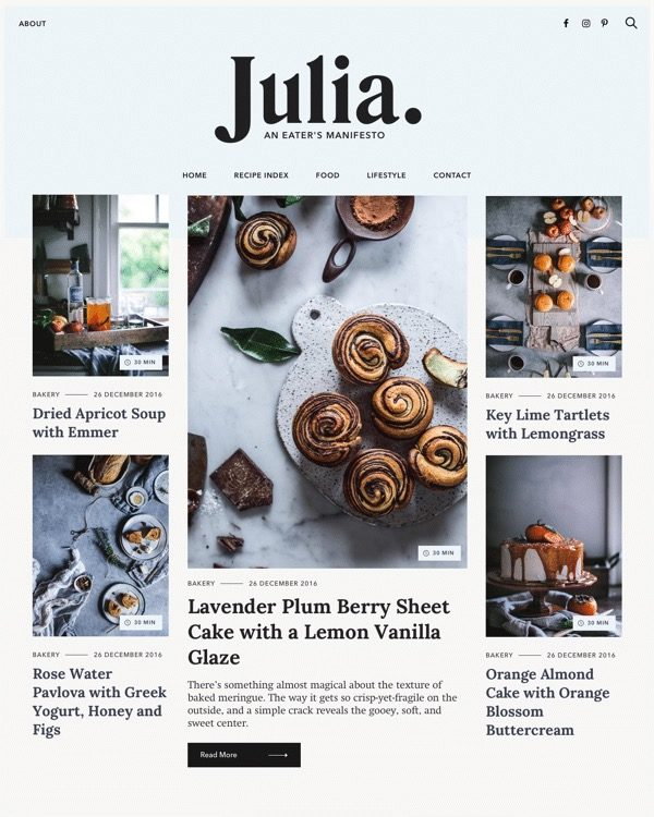 Julia a food blog WordPress theme