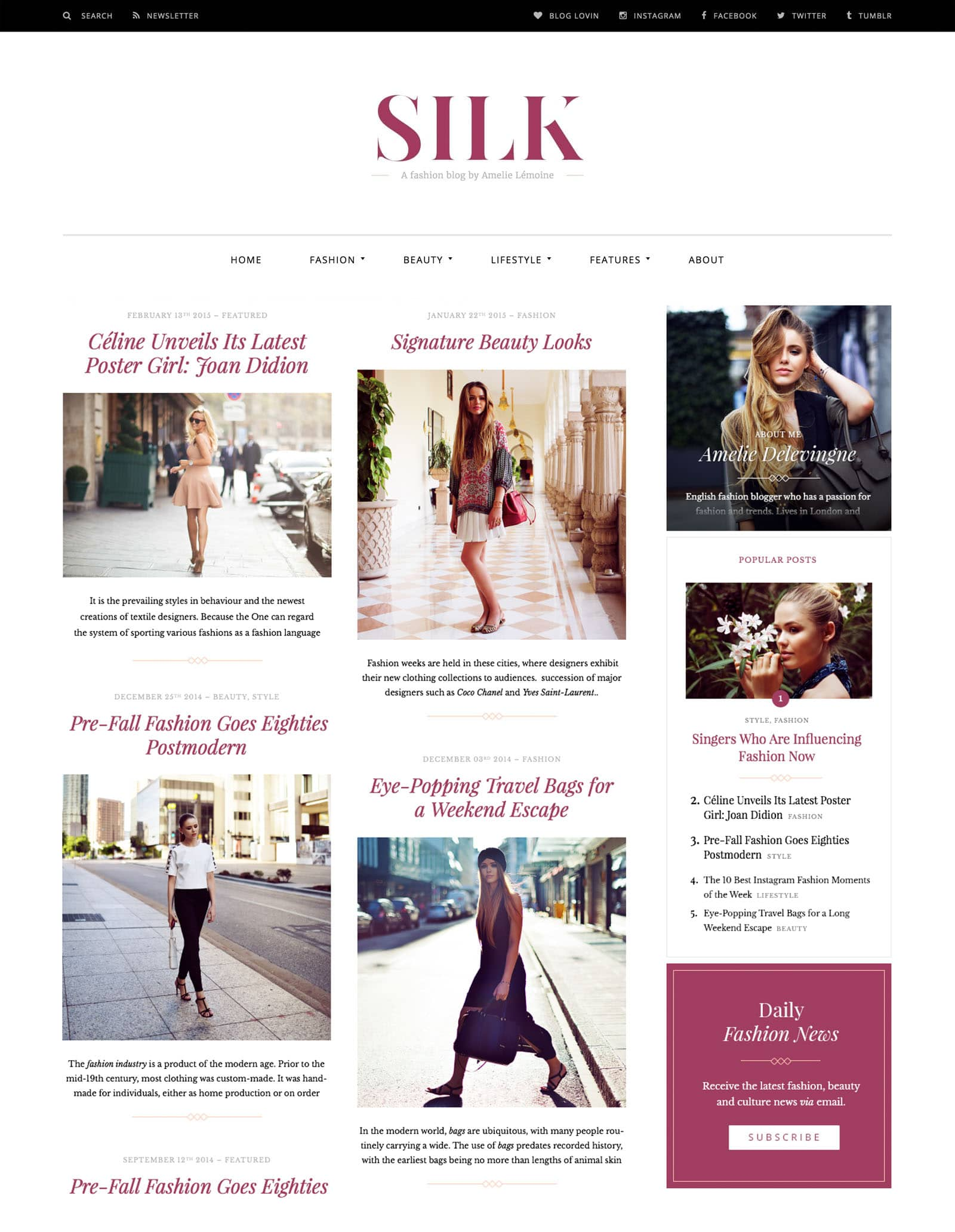 Desktop View for Silk Lite a free fashion blog WordPress theme