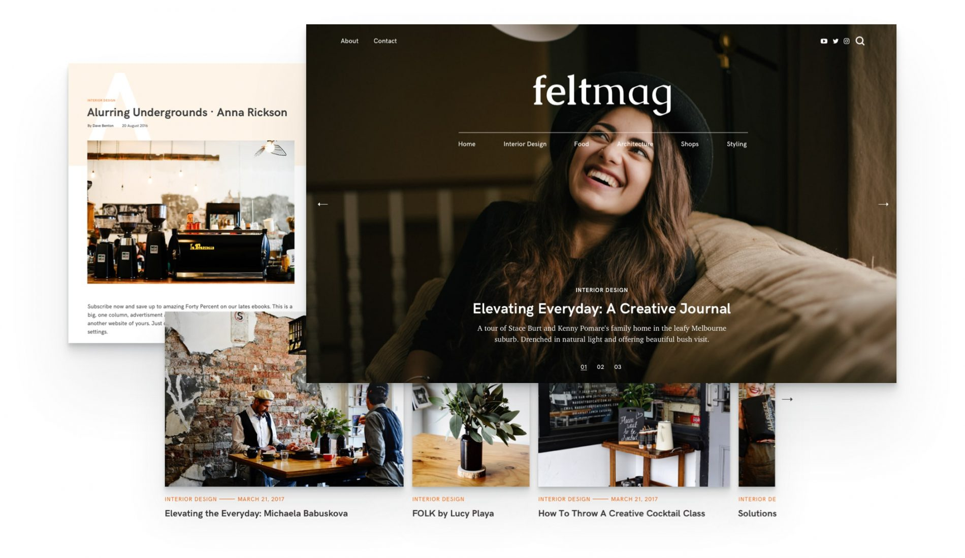 fullscreen hero slider for Felt magazine wordpress theme
