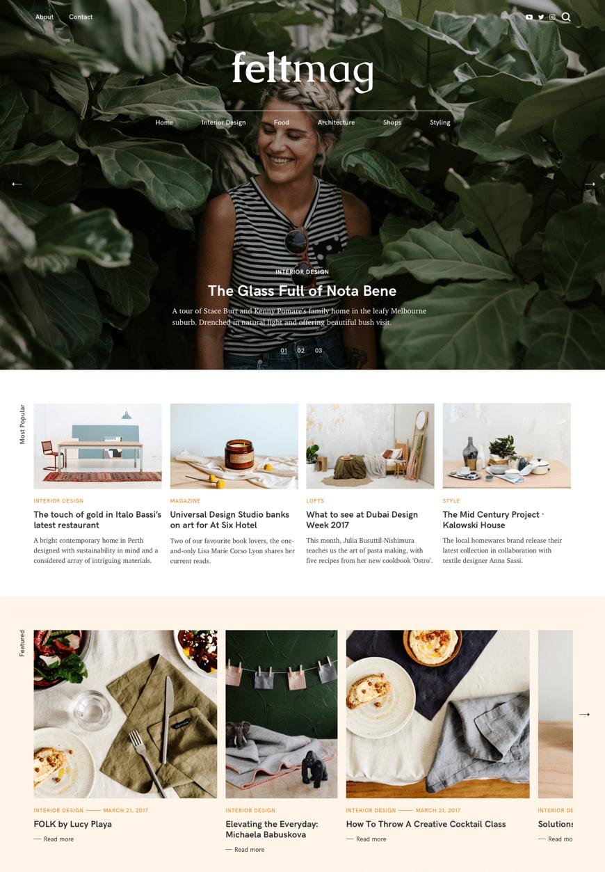 Felt Magazine WordPress Theme Desktop View