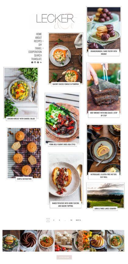 Lecker Food Blog created with Gema full desktop view