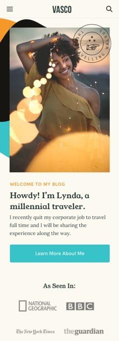 Vasco a travel blog WordPress theme Mobile Responsive
