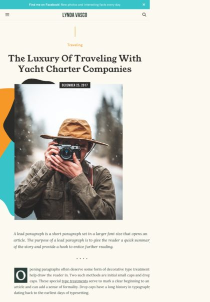 travel blog WordPress theme Tablet View