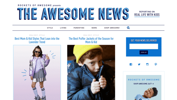 Rockets of Awesome - Showcase blog built with Silk - Desktop View