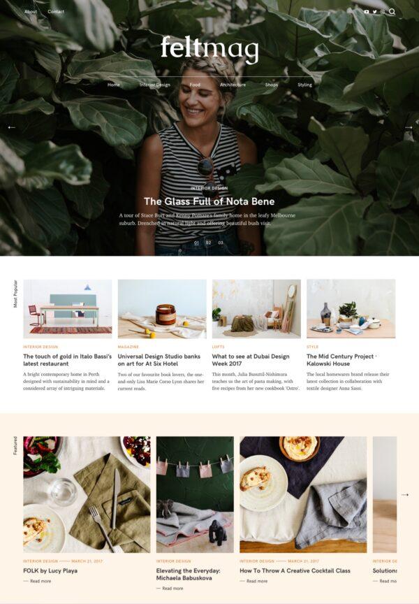 Desktop View for Felt a Free magazine WordPress theme