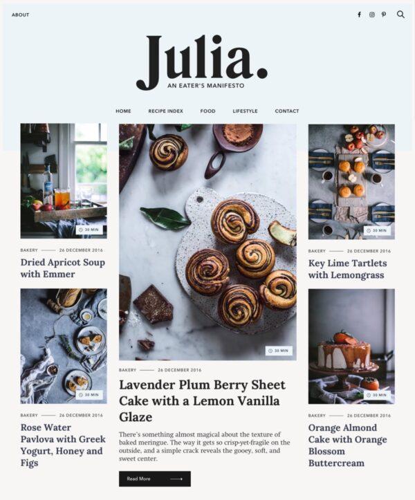 Desktop View for Julia Lite a free food blog WordPress theme