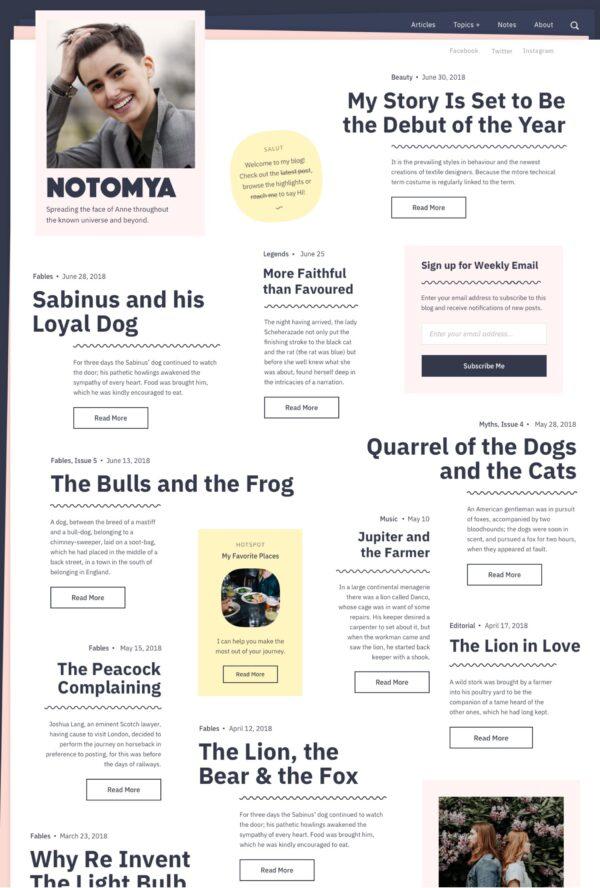 desktop view for Noto Lite a free WordPress theme for writers