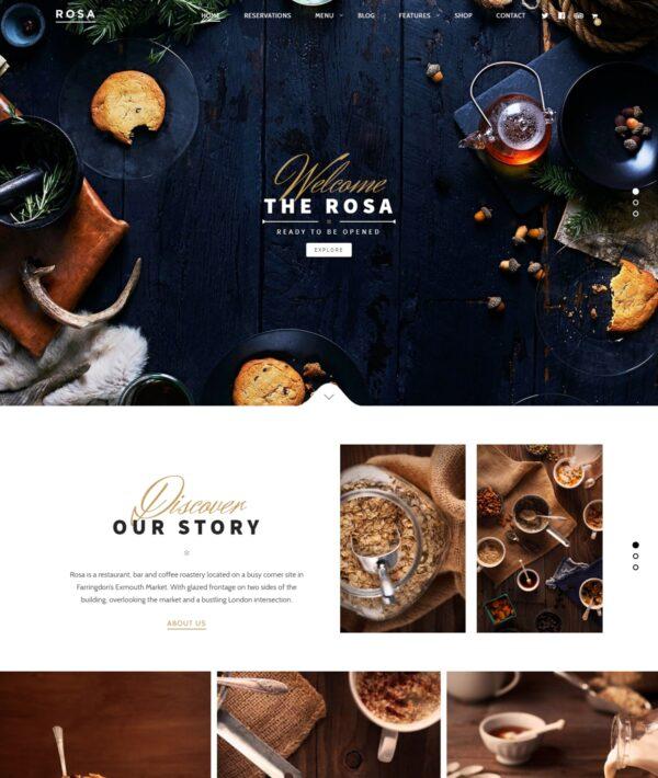 Rosa Lite Free restaurant WordPress theme Desktop View