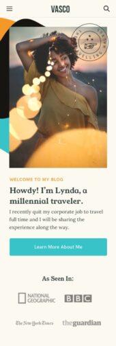 Mobile Responsive View for Vasco a free travel blog WordPress theme