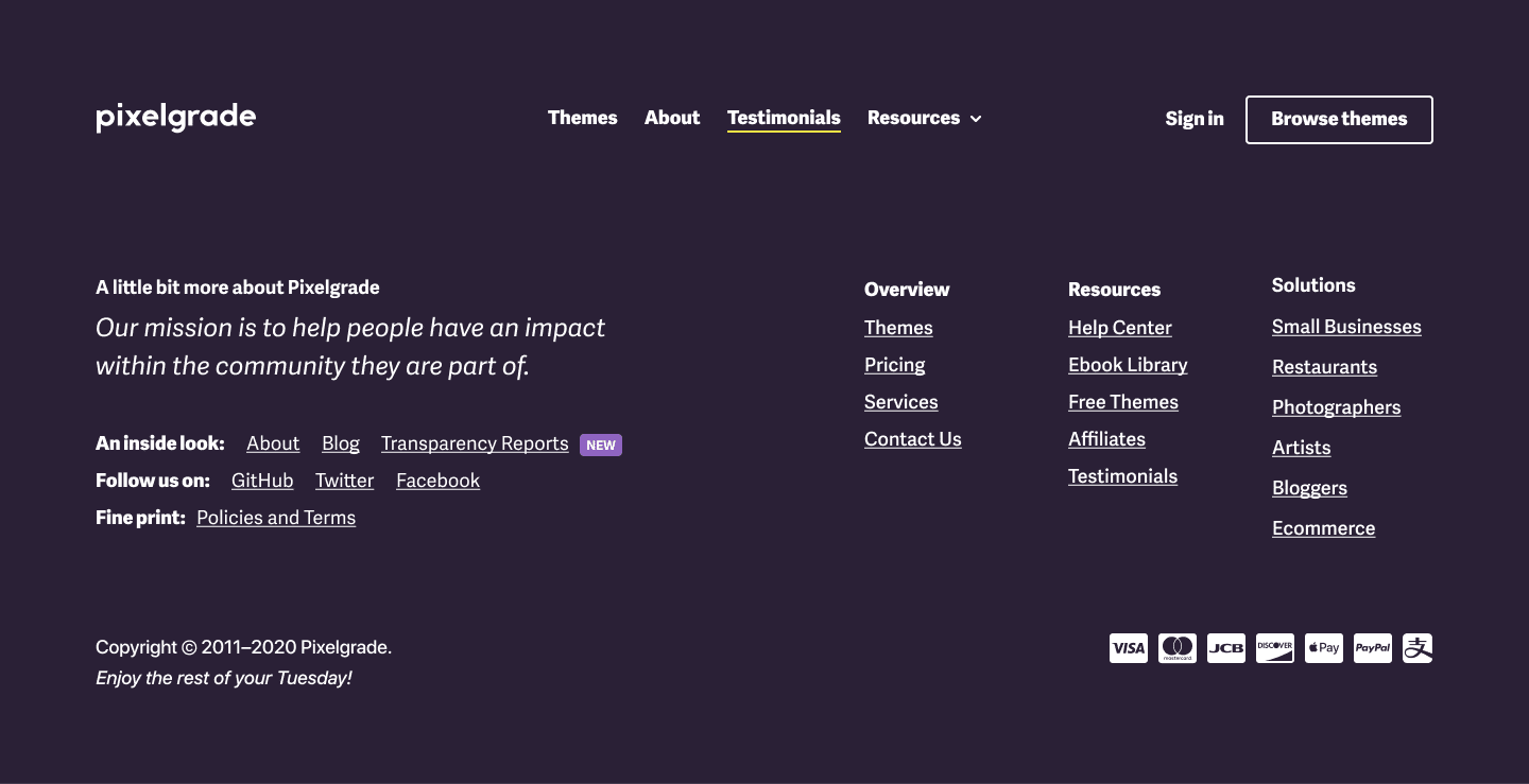 The process of designing the footer section of Pixelgrade