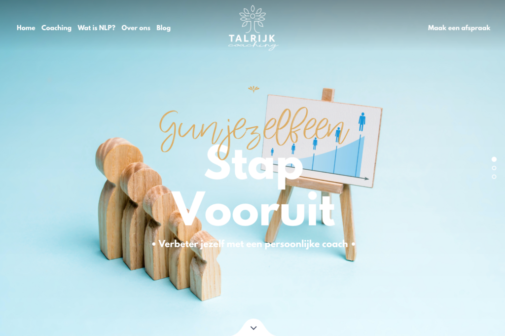 Front page of the Talrijk Coaching website