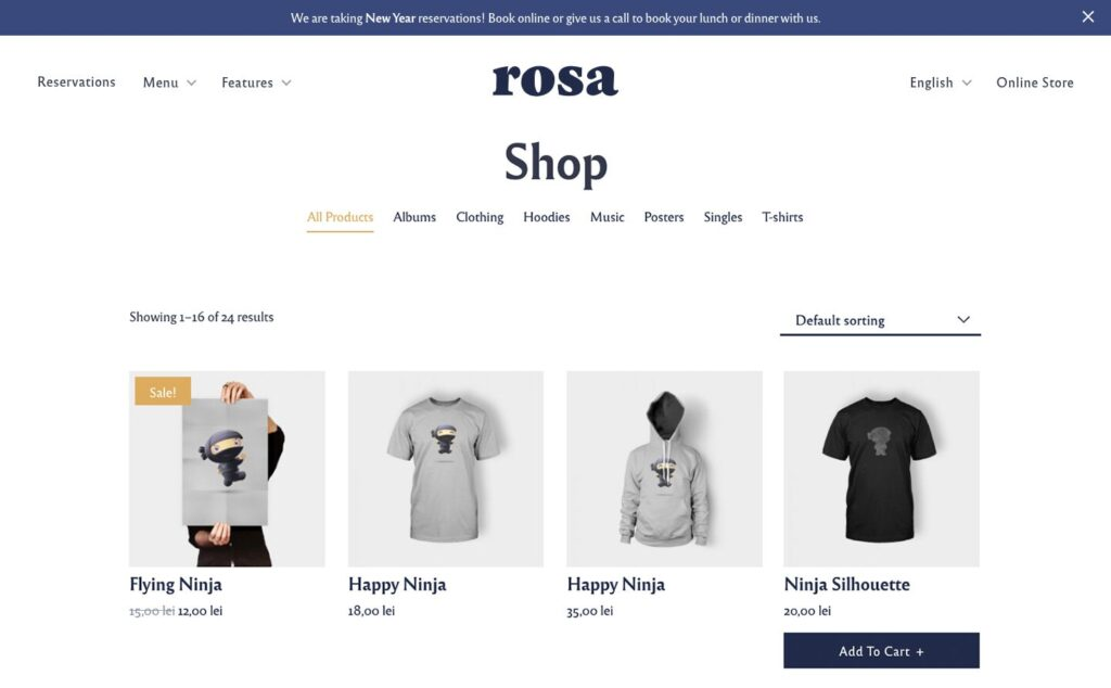 Rosa 2 with the WooCommerce Add-on