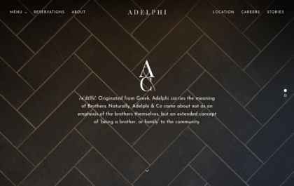 Adelphi Restaurant website created with Rosa 2