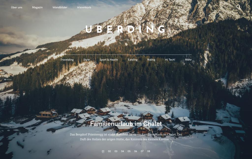 Hero Area from Uberding's website