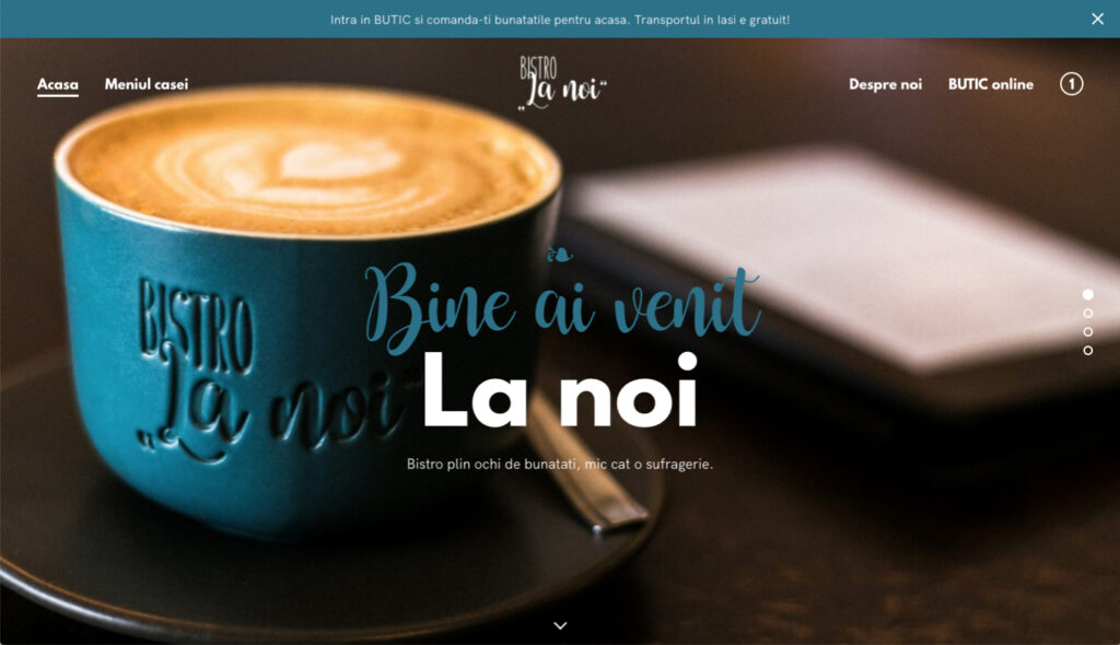 Bistro La Noi's home page on their new website